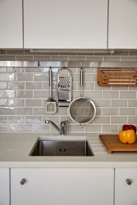 Kitchen sink and hanging rail.